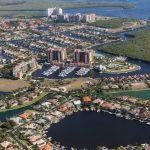 aerial view of houses and coastline in cape coral, florida