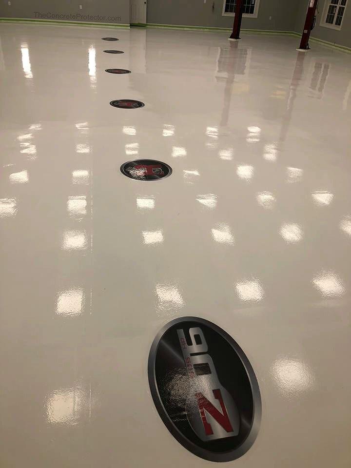emblem design decorative concrete floor