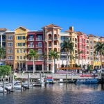 colorful buildings on the coastline of naples city in florida
