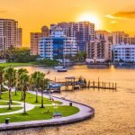 scenic sunset view of buildings and coastline at sarasota in florida